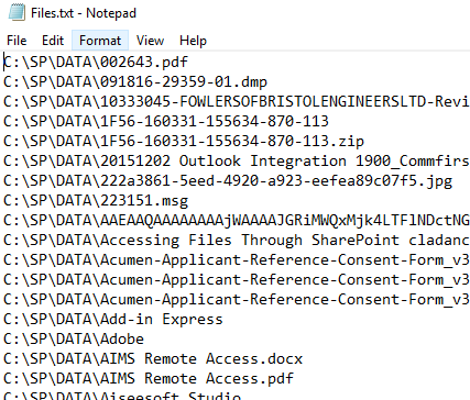 Exported File Listing