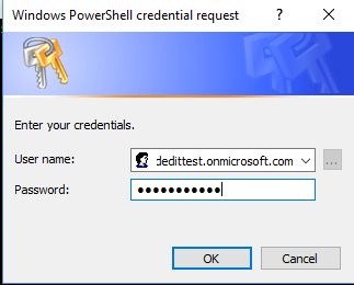 SharePoint Online Powershell Connection Credential Box